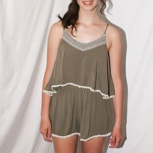olive green cute summer romper